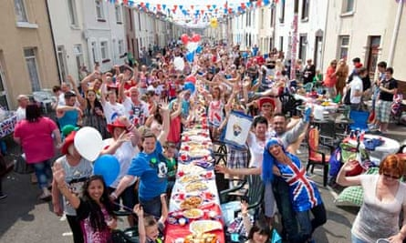 Residents having a street party