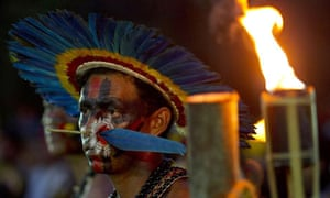 An indigenous man at a ceremony during the Rio+20 summit.