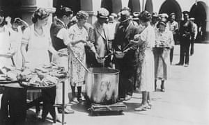 Breadline in Los Angeles during the Great Depression