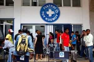 Greece: health system: Patients wait in front of a medical centre