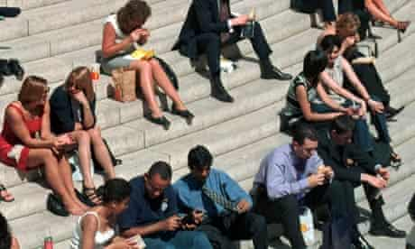 Office workers relaxing on their lunch hour