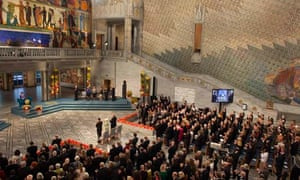 Aung San Suu Kyi receives a standing ovation after her Nobel peace prize acceptance speech