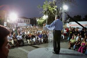 Andy Hall Athens: Party leader Fotis Kouvelis addresses Democratic Left supporters