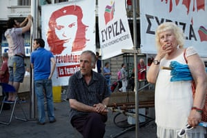Andy Hall Athens: Supporters of the anti-austerity coalition of left-wing parties, Syriza