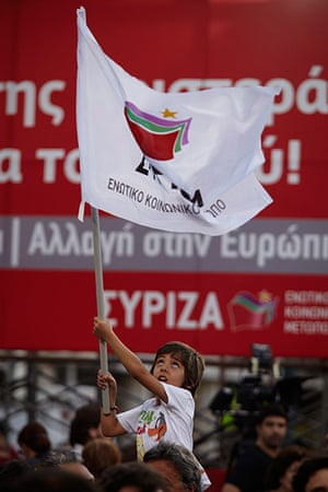 Andy Hall Athens: A young supporter attends the Syriza party rally