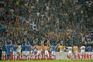 Group A4: Greek players celebrate