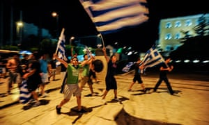 Greek supporters celebrate beating Russia