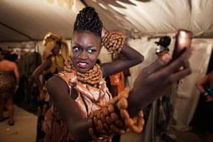 FTA Finbarr O'Reilly: Model Sachakara Dieng checks her hair