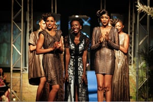 Dakar fashion week: Designer and organiser of Dakar Fashion Week Adama Paris with models