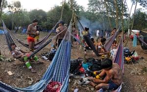 UN Rio+20: Indians camp during exhibitions in Jacarepagua, Rio de Janeiro, Brazil