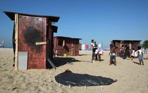 UN Rio+20: Fictitious favela in Copacabana Beach