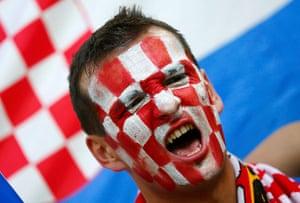 croatia fan: Croatian fans will be hoping their team can cause an upset against Spain
