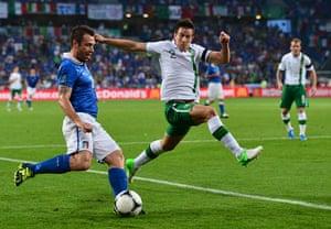 Italy fix: Antonio Cassano attempts to get a cross into the Irish penalty area