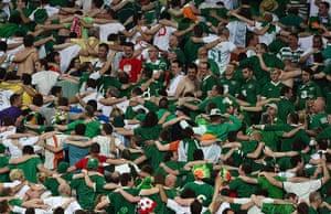 spain game: Irish fans do the Poznan in Poznan.