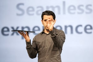Microsoft Surface tablet: Microsoft Surface: Panos Panay hold up a Microsoft Surface