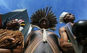 UN rio+20: Brazilian natives during a protest against the Brazilian Development Bank