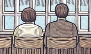 Illustration by Clifford Harper of a man and a woman sitting in chairs looking out of a window