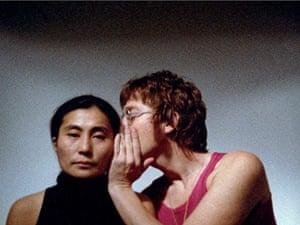 Yoko Ono archive photos: Yoko Ono's artwork Whisper Piece, with John Lennon