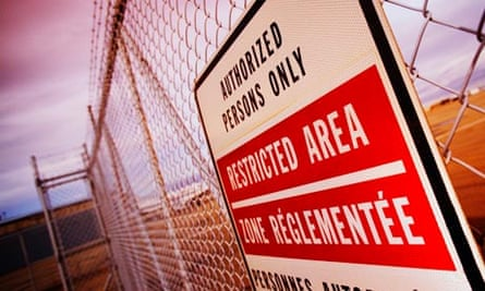 Restricted area sign on Canadian prison fence