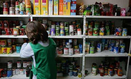 A woman working in a food bank