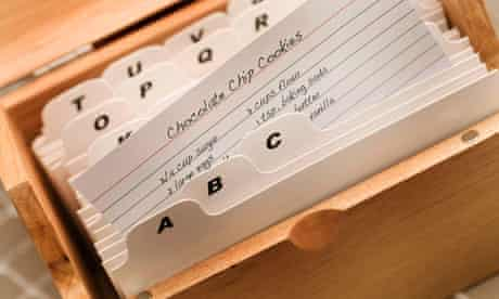Box card index of recipes