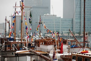 Jubilee: Boats are prepared to sail from South Quay to Tower Bridge