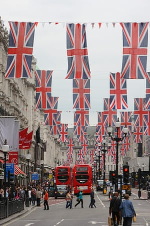 Jubilee: Union Jack flags and bunting flutter above the shops on Regent Street