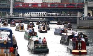 Boats preparing for the royal jubilee flotilla