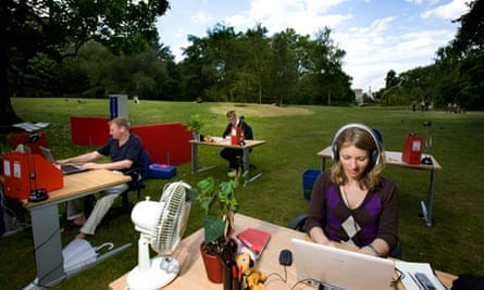 office staff working in a public park
