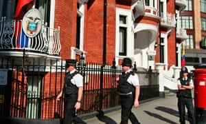 Police patrol outside the Ecuadorian Embassy