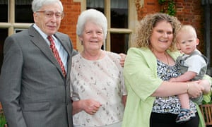 Lesley Brown with IVF pioneer Prof Robert Edwards, her daughter Louise and grandson Cameron