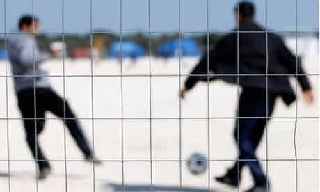 Tunisian would-be immigrants play footba