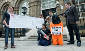 Campaigners protesting about the involvement of Lockheed Martin