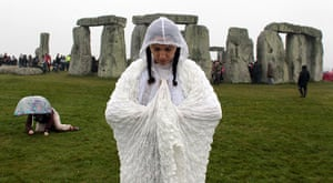 summer solstice: A woman performs a ritual