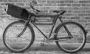 poetry engraved on a bike