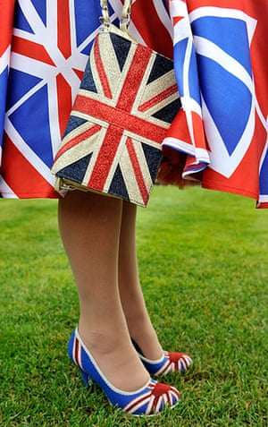 ladies day at ascot : lady in union jack attire
