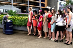 ladies day at ascot :  women pose in their finery