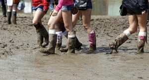 Isle of White: Festival goers have come prepared with wellies