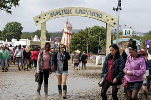 Isle of White: The festival site covered in mud