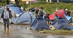 Isle of White: Tents are pitched dangerously close to some deep mud