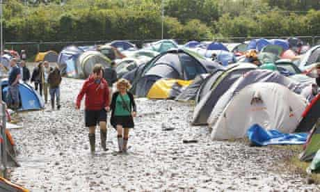 The muddy campsite at the Isle of Wight festival