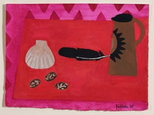 Mary Fedden: Red Table Brown Jug, a painting by Mary Fedden