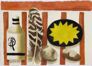 Mary Fedden: Feather and Two Stones, a painting by Mary Fedden