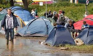 Isle of Wight festival puddle
