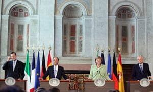 Spain's Mariano Rajoy, France's Francois Hollande, Germany's Angela Merkel and Italy's Mario Monti