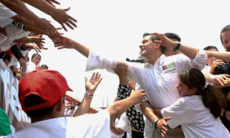 Enrique Pena Nieto is mobbed by supporters
