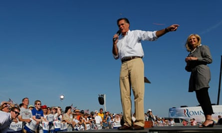 U.S. Republican presidential candidate Mitt Romney and wife speak during campaign event in Michigan