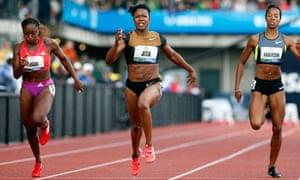 Carmelita Jeter wins 100m US Olympic trial