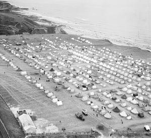 Rare aerial photographs: Aerial photos of Britain go online: a cliff-top campsite