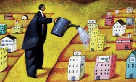 Man Watering Real Estate